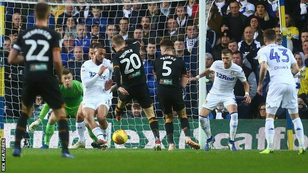 Hull's Jarrod Bowen scores against Leeds