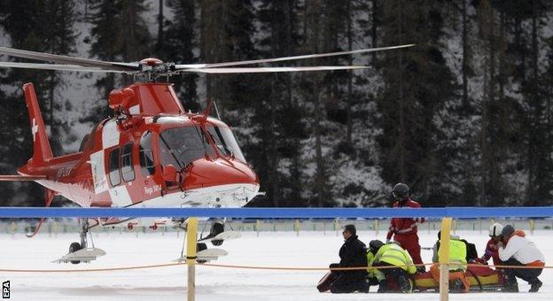 An air ambulance took George Baker to hospital