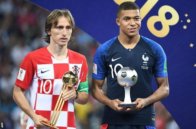 Luka Modric and Kylian Mbappe