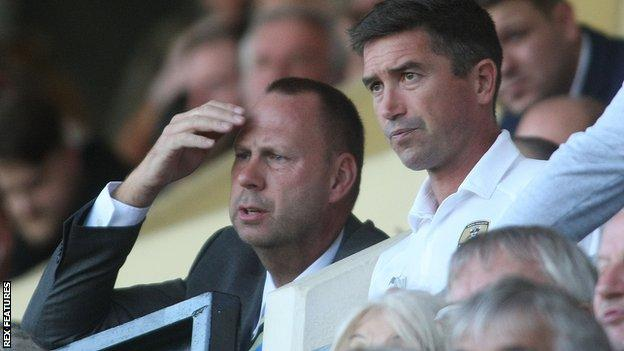 Notts County owner Alan Hardy and new manager Harry Kewell