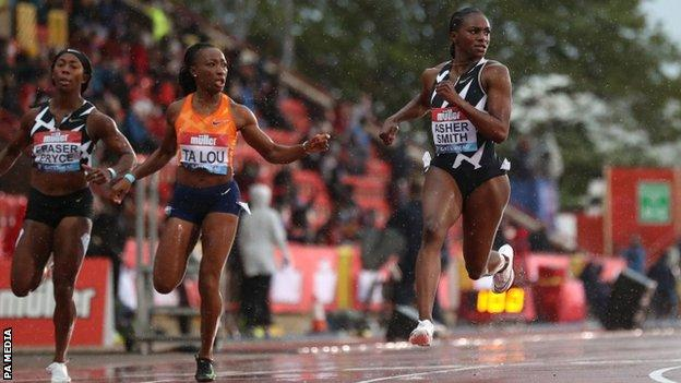 Dina Asher-Smith wins the women's 100m in Gateshead