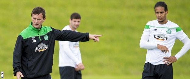 Celtic manager Ronny Deila and Virgil van Dijk
