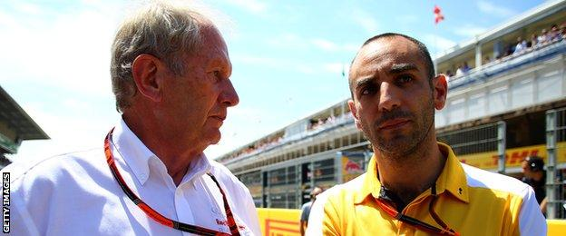 Red Bull consultant Dr Helmut Marko and Renault's Cyril Abiteboul