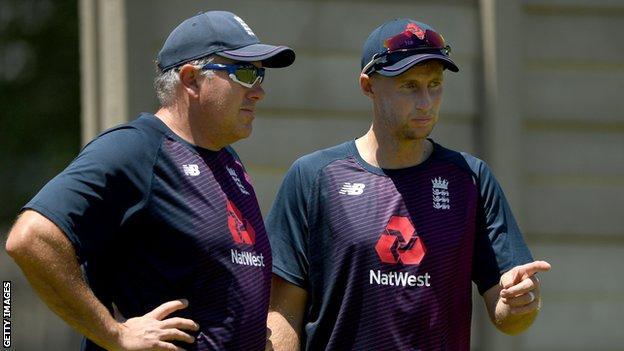 England coach Chris Silverwood (left) and captain Joe Root