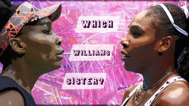 A graphic saying which williams sister with a picture of Venus and Serena