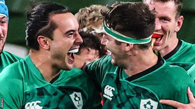 James Lowe (left) enjoyed a try-scoring debut for Ireland against Wales