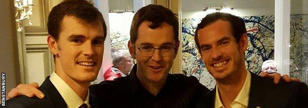 Jamie and Andy Murray pose with fan Ben Stanbury