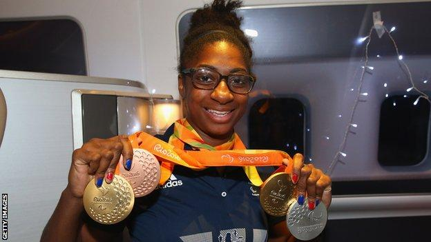 Kadeena Cox with her Rio Paralympic medals