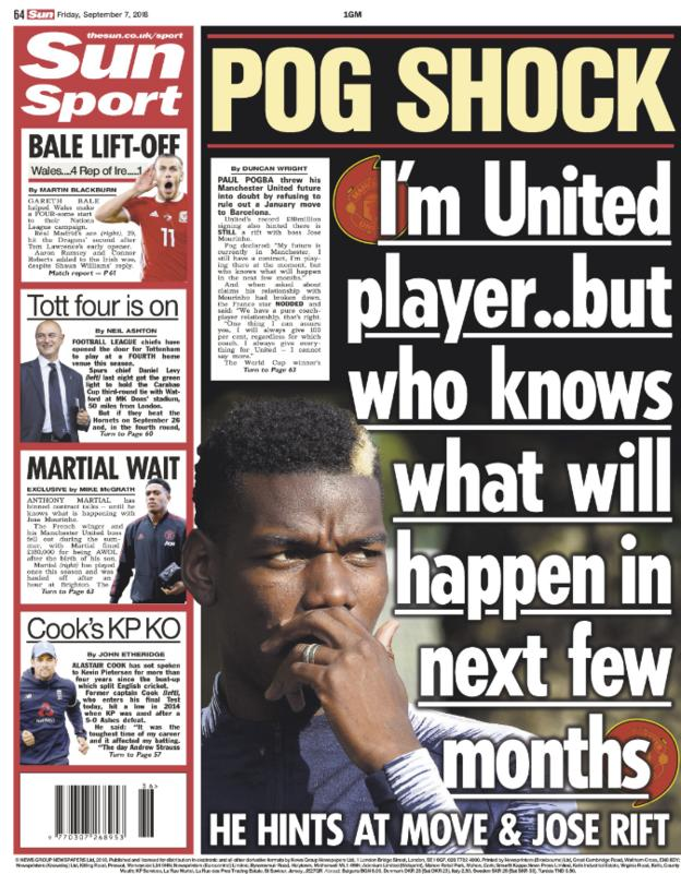 Sun back page on Friday