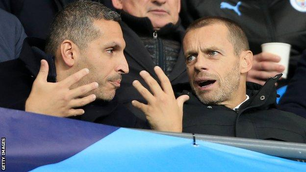 Manchester City chairman Khaldoon al-Mubarak (left) and Uefa president Aleksander Ceferin