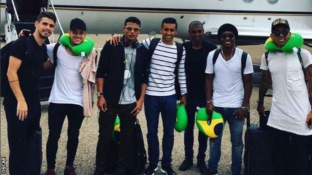 Left to right: Oscar, Philippe Coutinho, Thiago Silva, Marquinhos, Fernandinho, Willian and Roberto Firmino
