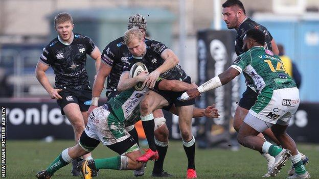 Ospreys' Mat Protheroe tries to make ground
