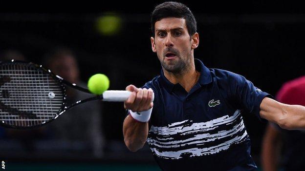 Novak Djokovic at the Paris Masters