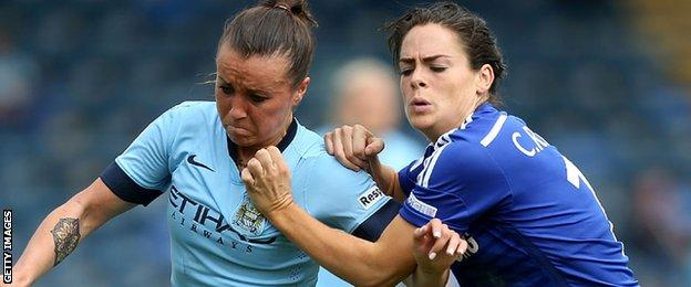 Natasha Harding tangles with Chelsea's Claire Rafferty while playing for Manchester City