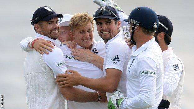 England celebrate during the win over Australia in the first Test