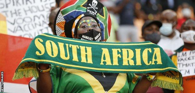 A South Africa fan at the game against Ethiopia