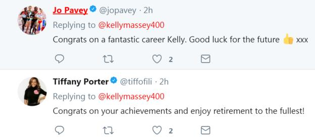 Tweets congratulating Kelly Massey on her retirement