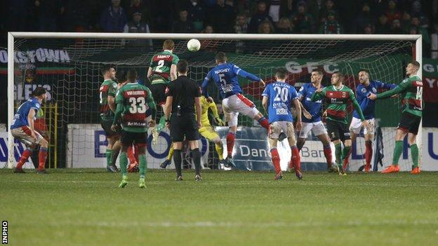 Linfield in action against Glentoran last December