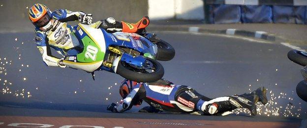Dan Cooper's bike collides with Ryan Farquhar at Black Hill near Portrush