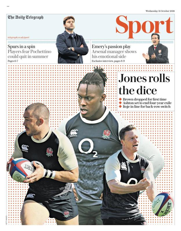 The front page of the Daily Telegraph's sport section