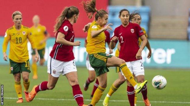 Wales v Norway - action from Oslo