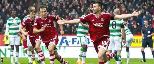Paul Quinn celebrates his winning goal