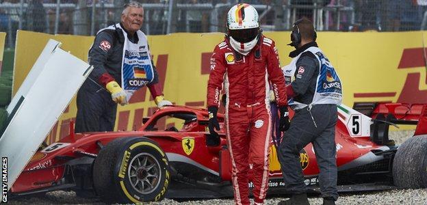 Sebastian Vettel crashes out of the German Grand Prix