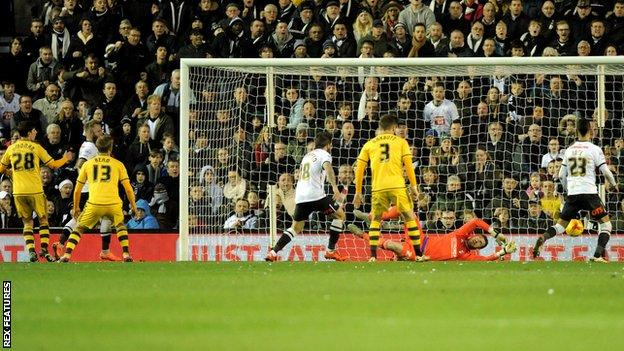 Derby open the scoring against Fulham at the iPro Stadium