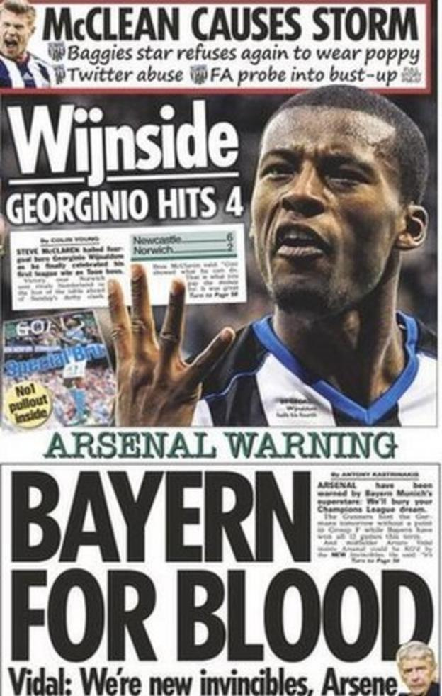 Monday's Sun newspaper leads with a story on Bayern Munich and how they expect to beat Arsenal in the Champions League this week