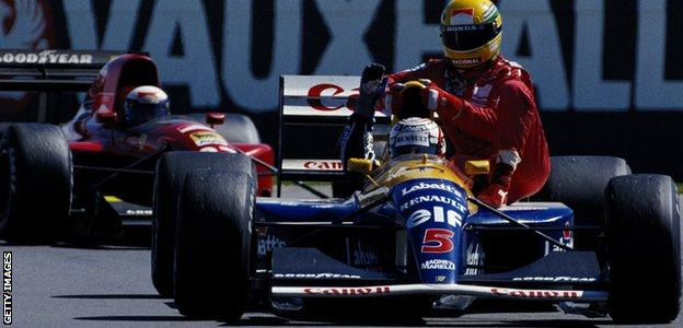 Nigel Mansell and Ayrton Senna after the 1991 British Grand Prix