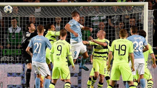Markus Rosenberg scores for Malmo against Celtic