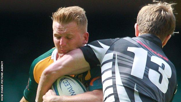 Owen Morgan (left) in action for Merthyr against Rhiwbina in the 2014 Swalec Plate final