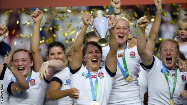 England women celebrate winning the World Cup in 2014