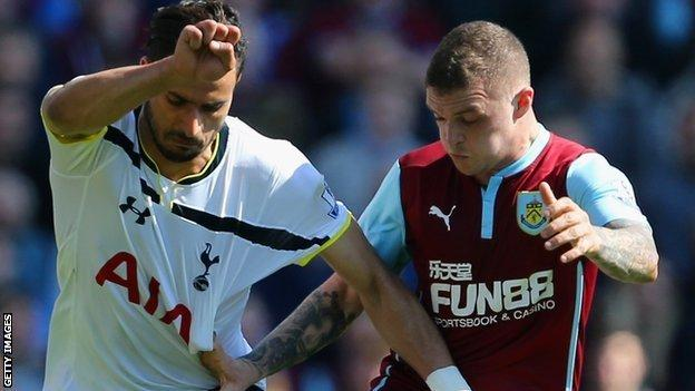Kieran Trippier in action for Burnle against his new club