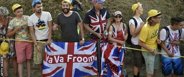 Fans support Chris Froome during the Tour de France
