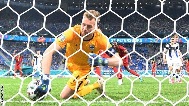 Finland goalkeeper Lukas Hradecky