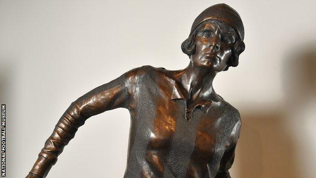 A statue of footballer Lily Parr housed in the National Football Museum in Manchester