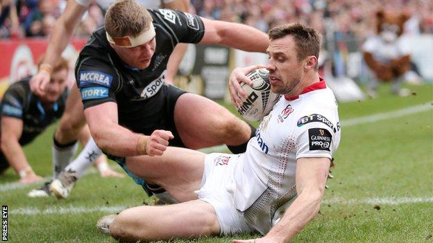Tommy Bowe's try put Ulster 8-0 up against Glasgow