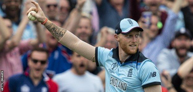 England all-rounder Ben Stokes points to the crowd in celebration after taking a stunning catch against South Africa