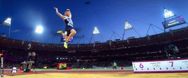 Greg Rutherford in action during the London 2012 Olympics