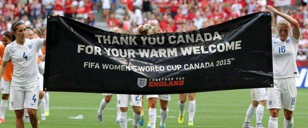 England players with a banner thanking Canada for its hospitality