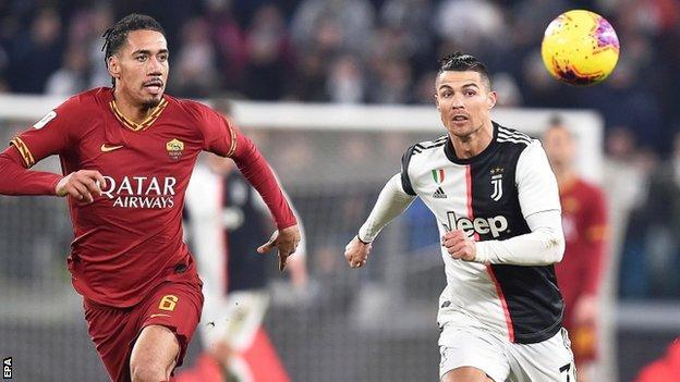 Chris Smalling and Cristiano Ronaldo