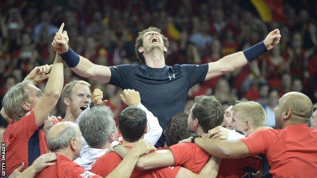 Andy Murray is lifted aloft by his Great Britain team-mates after winning the Davis Cup in 2015