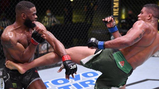 Gilbert Burns (right) now wants a shot at the welterweight title