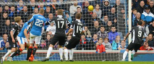 Derek Lyle scores for Queen of the South against Rangers