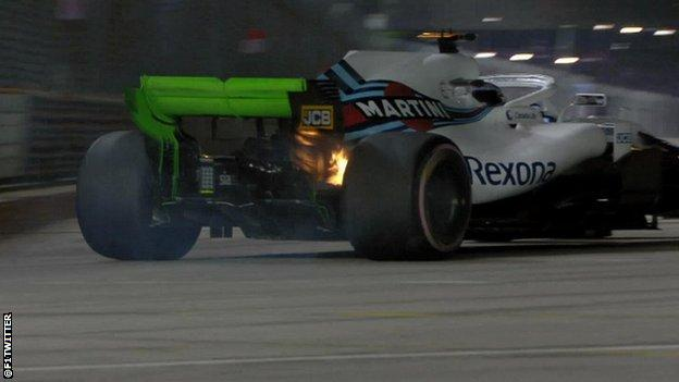 Lance Stroll's brakes set on fire
