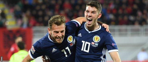 Ryan Fraser and Ryan Christie celebrate against Albania