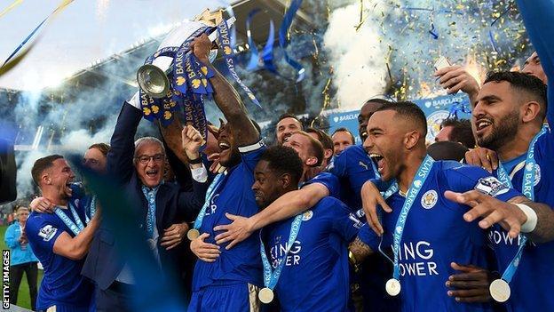 Leicester City celebrating the Premier League title win
