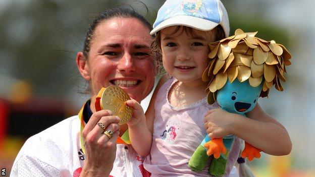 Dame Sarah Storey and daughter