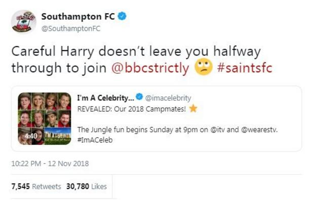 """Southampton tweeted """"careful harry doesn't leave you half way through to join Strictly"""" - in response to Harry Redknapp being on I'm a Celebrity"""